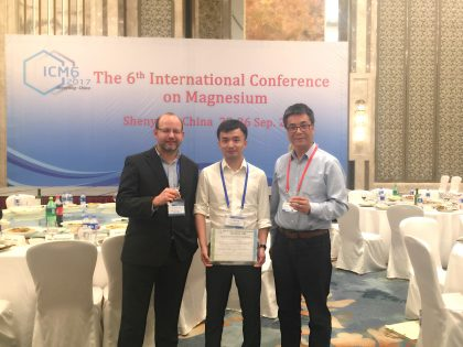LiME Spoke researcher wins award at the 6th International Conference on Magnesium